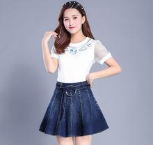 Denim skirt spring and summer 2017 new female high waist Slim a word umbrella skirt