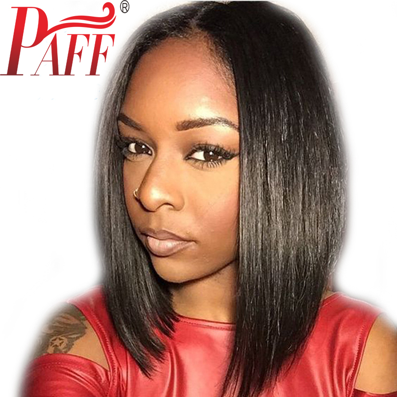 PAFF Short Bob Lace Front Human Hair Wigs Silky Straight Brazilian 130% Density Middle Part Pre Plucked Wigs With baby Hair