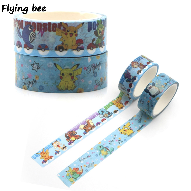 Flyingbee 15mmX5m Paper Washi Tape Pikachu Cute Adhesive Tape DIY Scrapbooking Sticker Label Masking Tape X0317