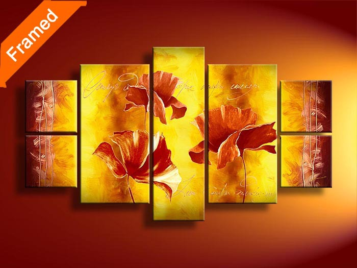 Best seller multi panels canvas art vivid flowers oil painting ...