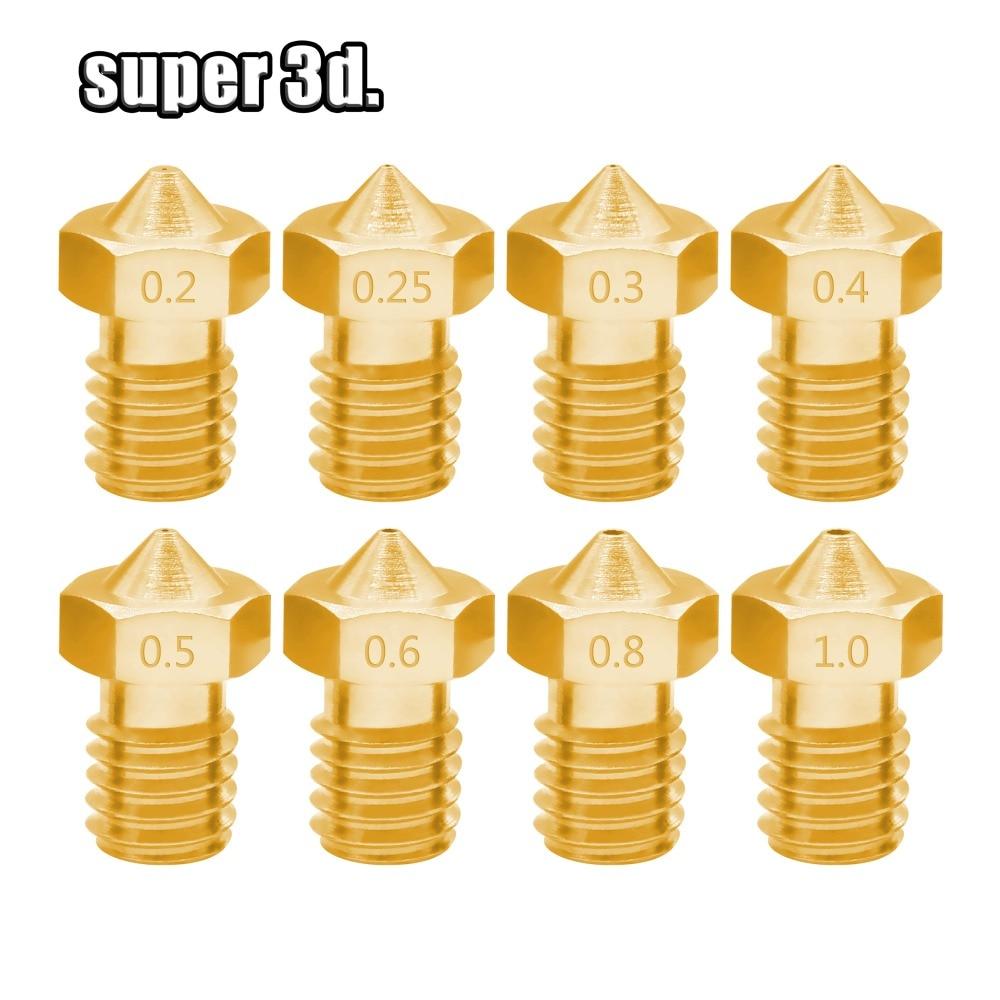 5pcs/lot V5 V6 Nozzle 0.2 /0.25/0.3/0.4/0.5/0.6/0.8/1.0 Part Copper 1.75mm Filament M6 Threaded Brass 3D Printers Parts