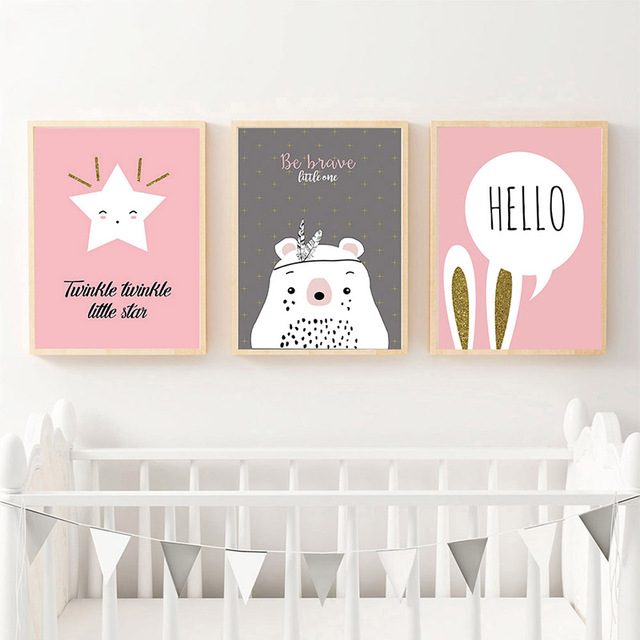 Kawaii Bear Rabbit Wall Art Canvas Posters Star Moon Mountain Nursery Print Nordic Painting Room