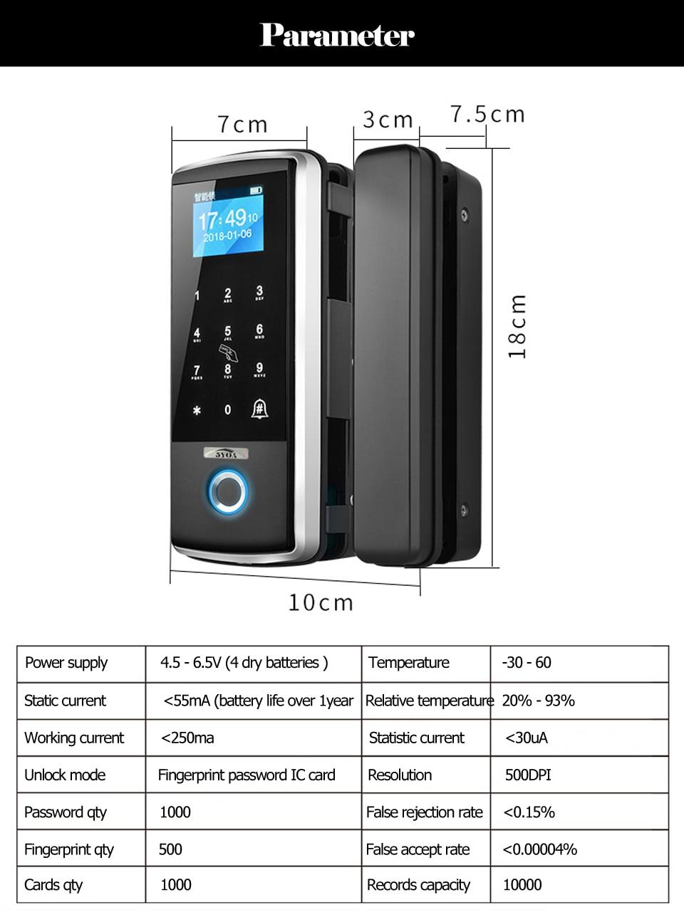 HTB1.hyad21G3KVjSZFkq6yK4XXaa Smart Door Fingerprint Lock Electronic Digital Gate Opener Electric RFID Biometric finger print security Glass Password Card