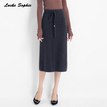 1pcs Hight waist Women Pencil knit skirts 2019 Autumn Knitted cotton Splicing Fork opening thickening skirt Ladies Skinny