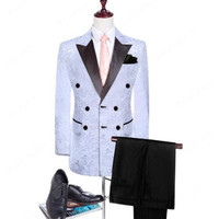 White gray double breasted men's suit groom tuxedo formal wedding business suit tail sleeve (jacket + pants) custom made