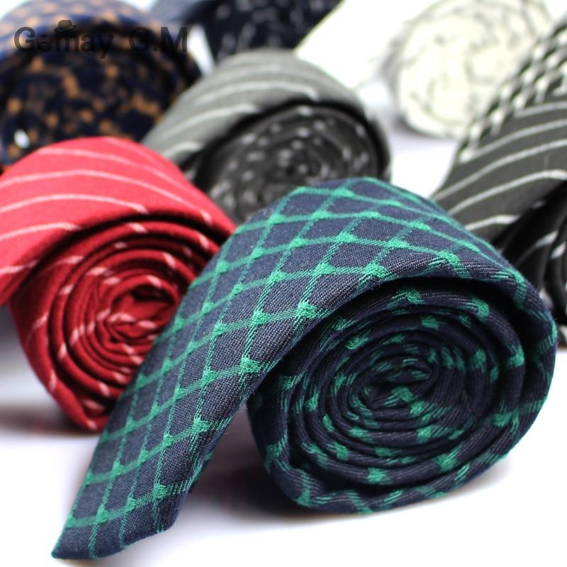 Divat alkalmi pamut kockás csíkos férfi nyakkendők 6cm keskeny - Ruházati kiegészítők - Fénykép 2