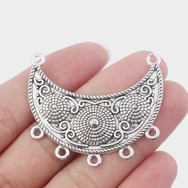 10pcs Antique Silver Crescent Moon Arc Earring Charms Pendants Carve Flower Component Connector Porous Jewelry Findings
