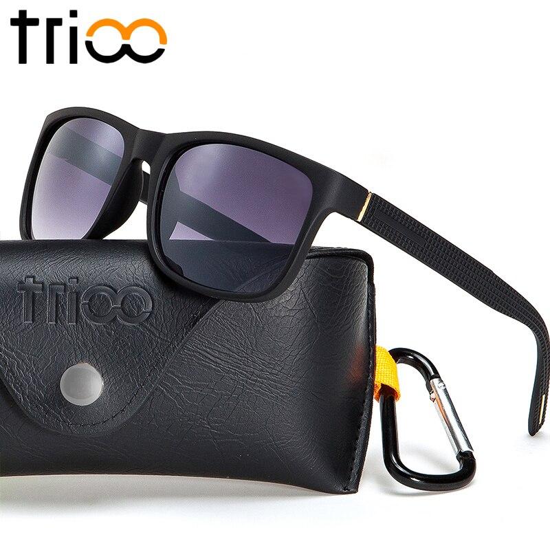 b50c67c6a83 TRIOO Matte Black Sunglasses Men Quality Square Gafas de sol Eyewear  Accessories Lattice Temple Sun Glasses Male Box-in Sunglasses from Apparel  Accessories ...
