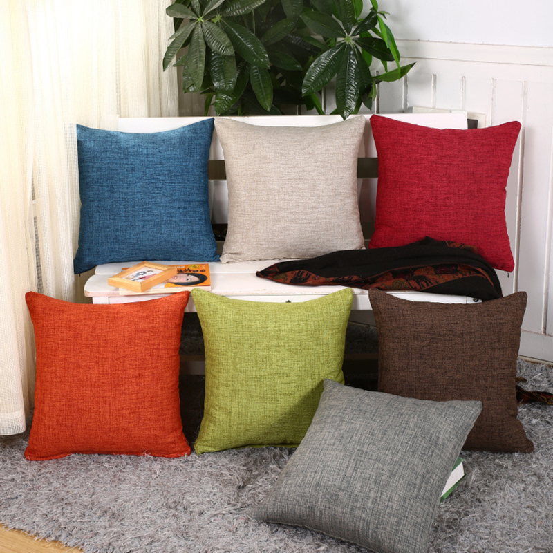 New Cotton Line Solid Sofa Cushion Covers Promotion Home Decoration Cover Throw Pillow 45x45 for Car Cushions Case