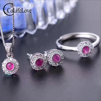 Fashion natural gemstone jewelry set for party 3mm diameter natural Sri Lank Sapphire ring earrings pendant solid silver jewelry