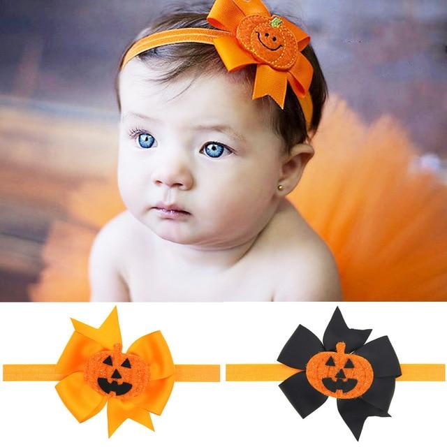 d6f93dad2633 Popular Little Girls Pumpkin Headband Halloween Bow Headbands Orange And Black  Bow Photo Prop Girls Halloween Hairband