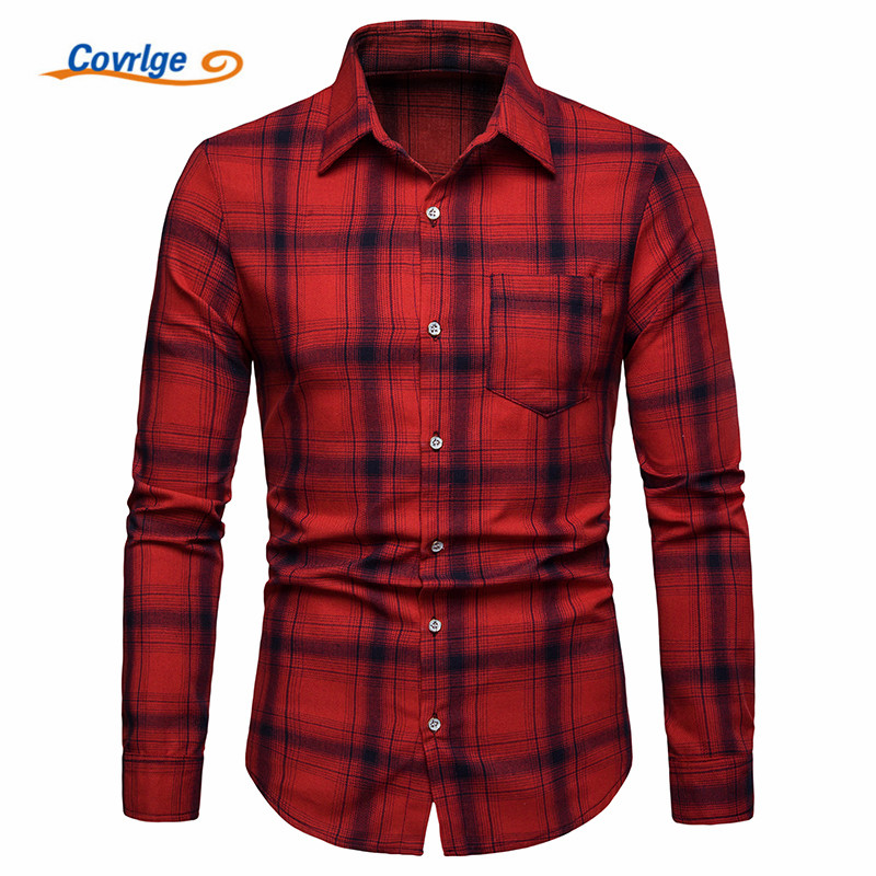 Covrlge Men's Dress Shirts Spring&Autumn Plaid\Striped Smart Casual Fashion Shirts Male Fashion Button-Down Collar Shirt MCL202