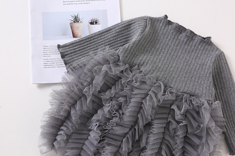 2019 Cotton Long Sleeve Knitted Kids Dresses For Girls Toddler Clothing Baby Girl Drees Tulle Patchwork Grey Pink White Spring 7