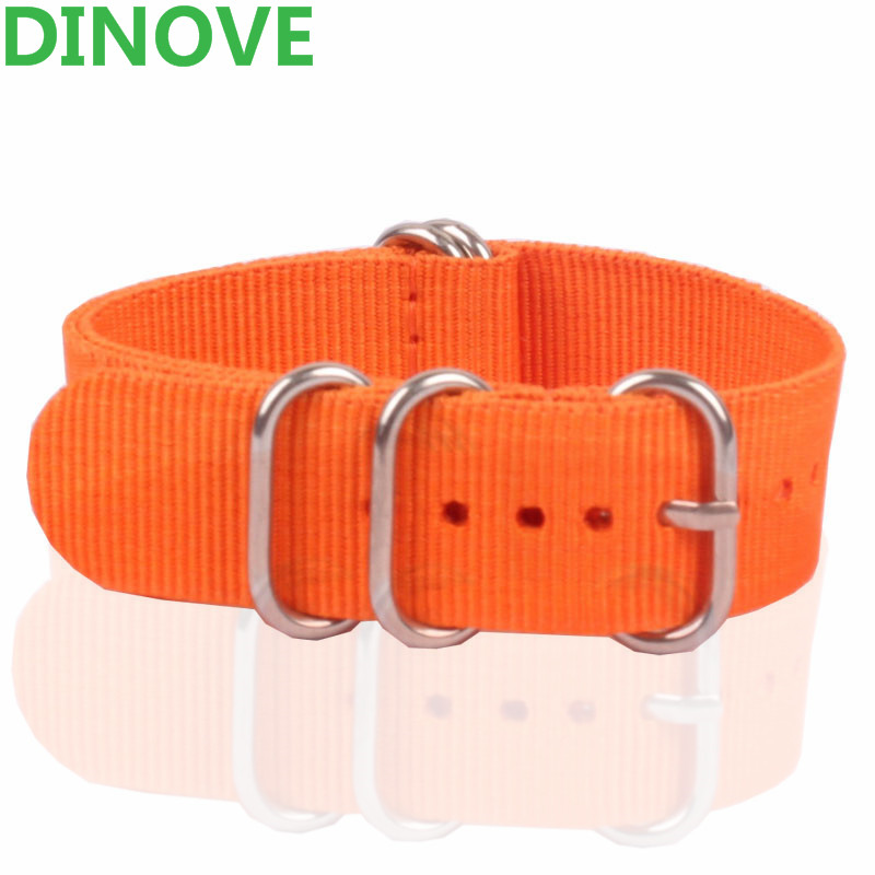 купить DINOVE 2016 Fashion Nylon strap 20mm Army Military Zulu Nato watch strap belt Nylon Woven Orange Bracelet watchband 20 mm Buckle по цене 284.37 рублей