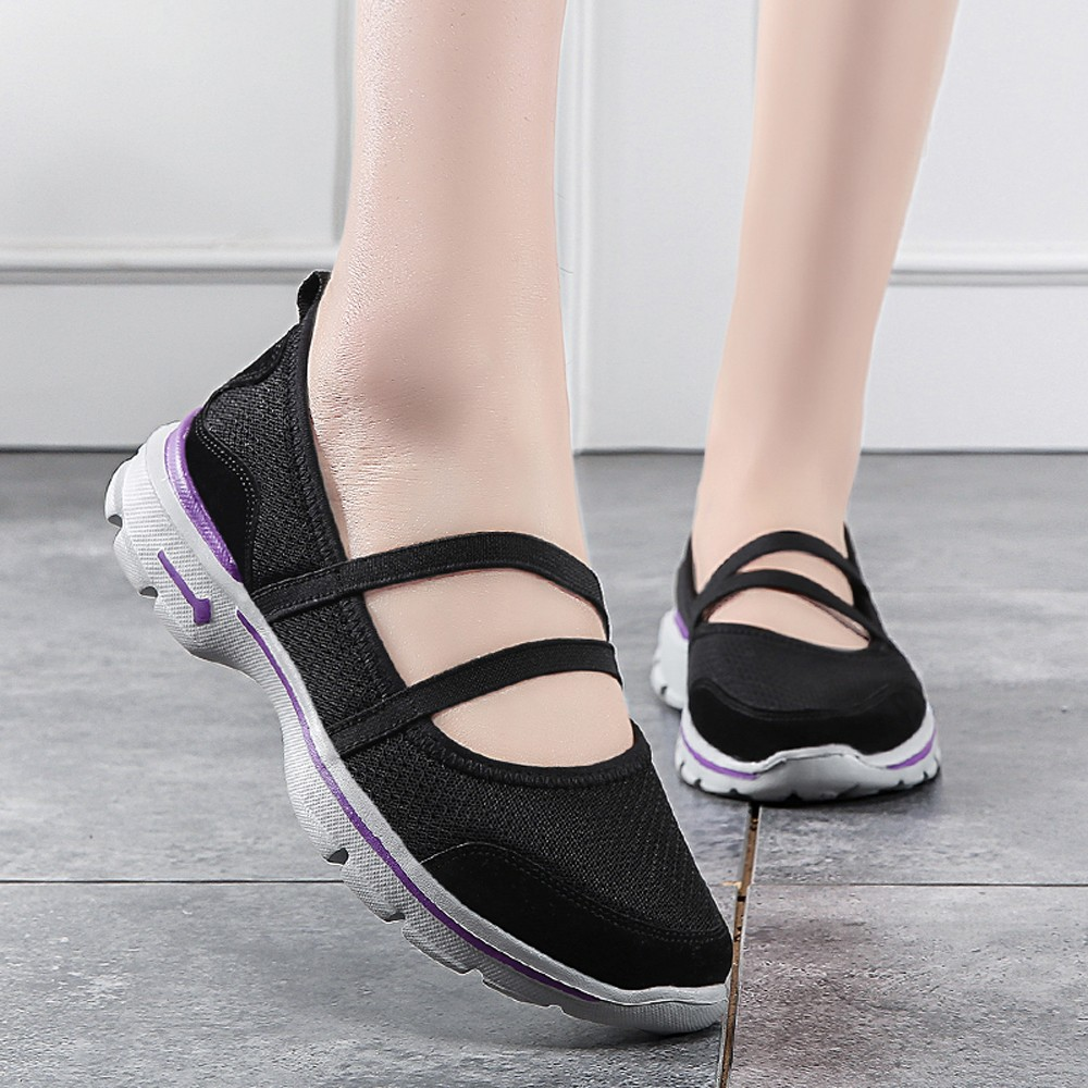 Perimedes Women Flats 2019 Women Lightweight Walking Shoes Mesh Breathable Shoes Casual Sport Fitness Belt Footwear Shoes#g30