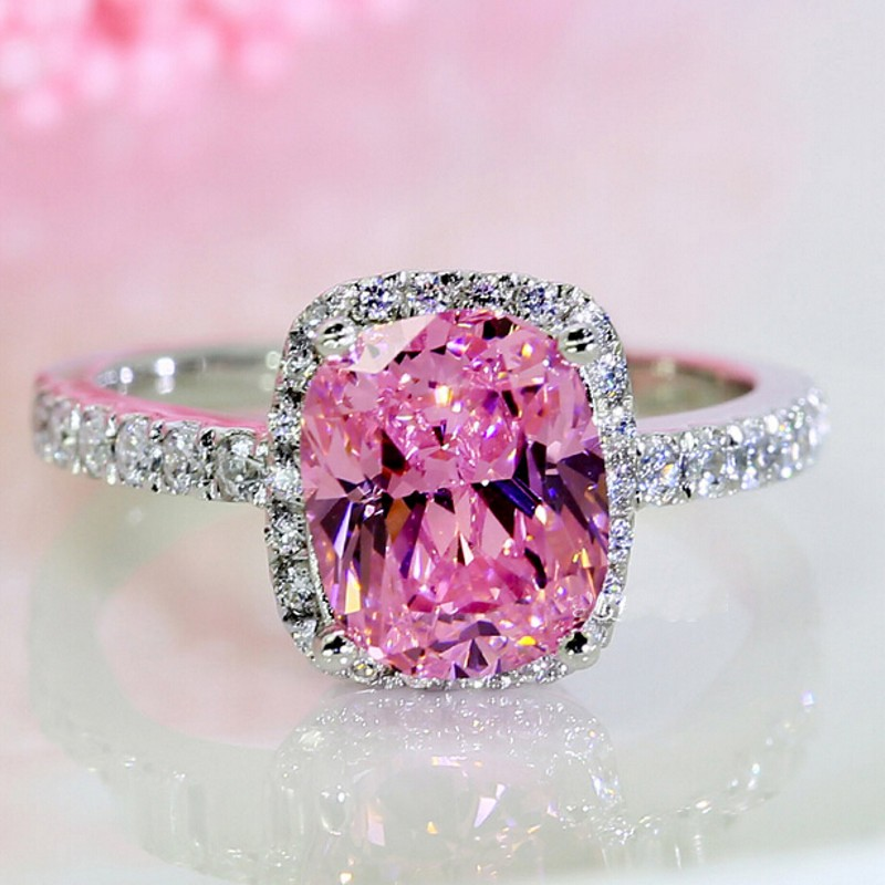 new jewelry engagement band 3ct pink gem 5a zircon birthstone 925 sterling silver women wedding ring - Pink Wedding Ring