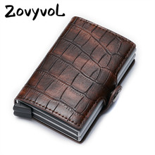 ZOVYVOL PU Leather Credit Card Holder 2019 New Aluminium Double Box Fashion Men And Women Metal RFID Vintage Travel Wallet