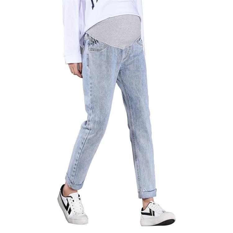 39b3fccf6630b Pengpious 2019 sonbahar hamile kadınlar kot slacks düz göbek pantolon  yüksek bel analık gerilmiş ayarlanabilir denim pantolon ~ Best Seller July  2019