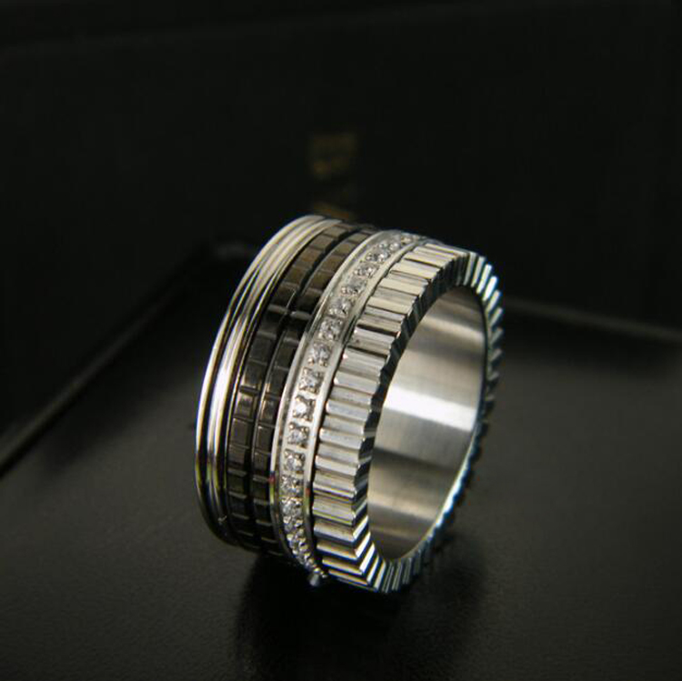 2016 High Quality Black Ceramic Ring Silver Plated Titanium Gear Famous Brand Rings With CZ For Men Women утяжелитель браслет для рук и ног indigo 2 шт х 0 1 кг