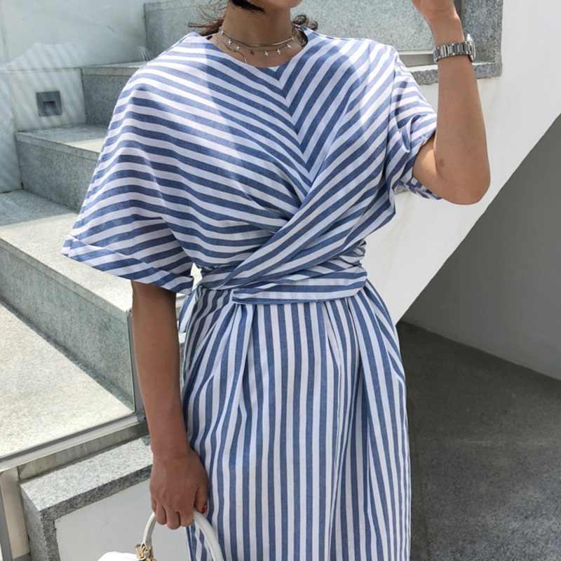 Корейский для женщин летние хлопковые синие полосатая повязка разделение длинное платье женские длинные облегающий, большой размер Vestido Femme Ete Sukienki
