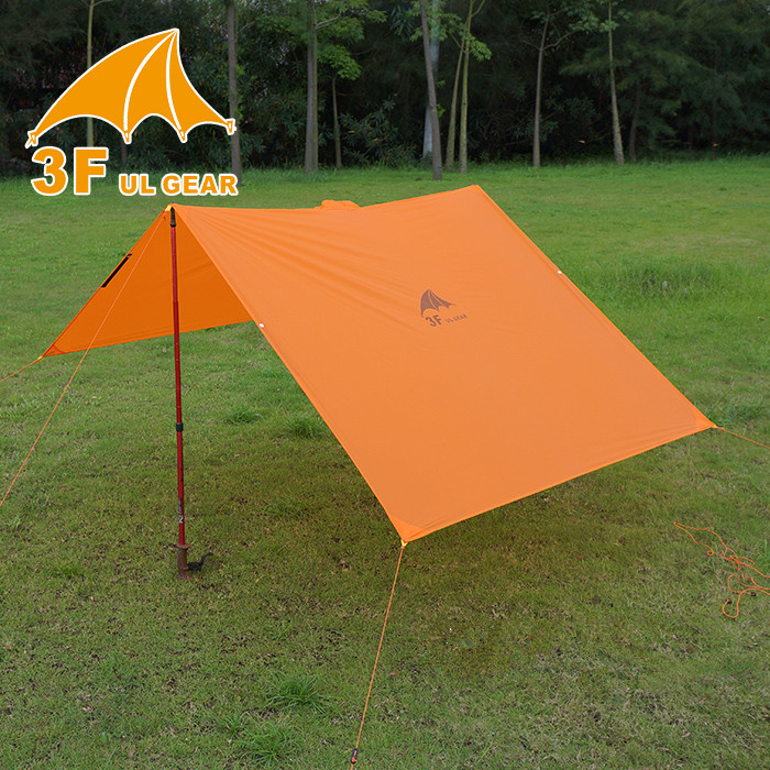 3F UL GEAR Single Person Ultralight Hiking Cycling Raincoat Outdoor Awning Camping Mini Tarp Sun Shelter 15D Silicone 4
