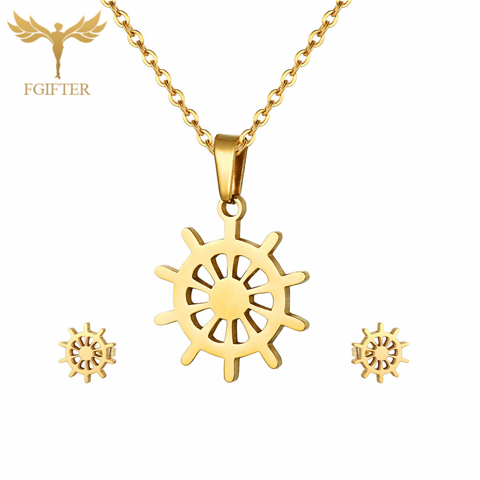 Fashion Anchor Rudder Jewelry Set High Quality Stainless Steel Stud Earrings Pendant Necklace Sets Girls Women Christmas Gift