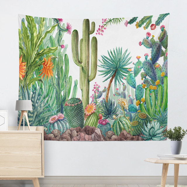 Bohemian Style Cactus Printed Wall Tapestry