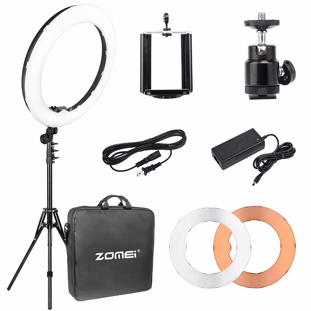 Cadiso 18 Dimmable LED Ring Light 5500k Output SMD LED Youtube Video and Makeup Ring Light with Tripod Stand Carry Bag