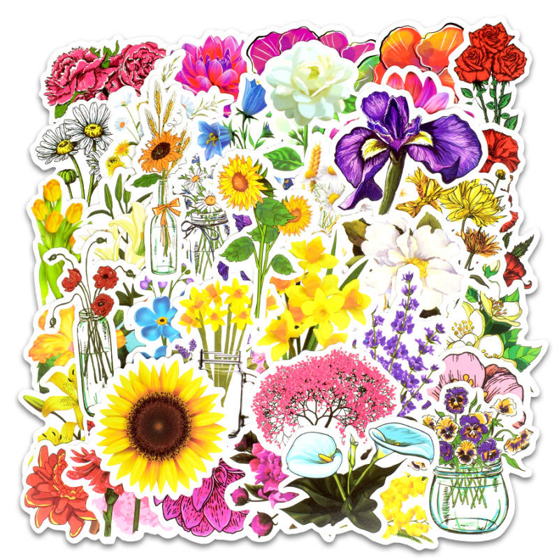 Image 2 - 50pcs spring flower stickers vinyl laptop skin plant floral sticker refrigerator suitcase sticker for MacBook Air Pro Retina/HP-in Laptop Skins from Computer & Office