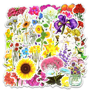 Image 2 - 50pcs spring flower stickers vinyl laptop skin plant floral sticker refrigerator suitcase sticker for MacBook Air Pro Retina/HP
