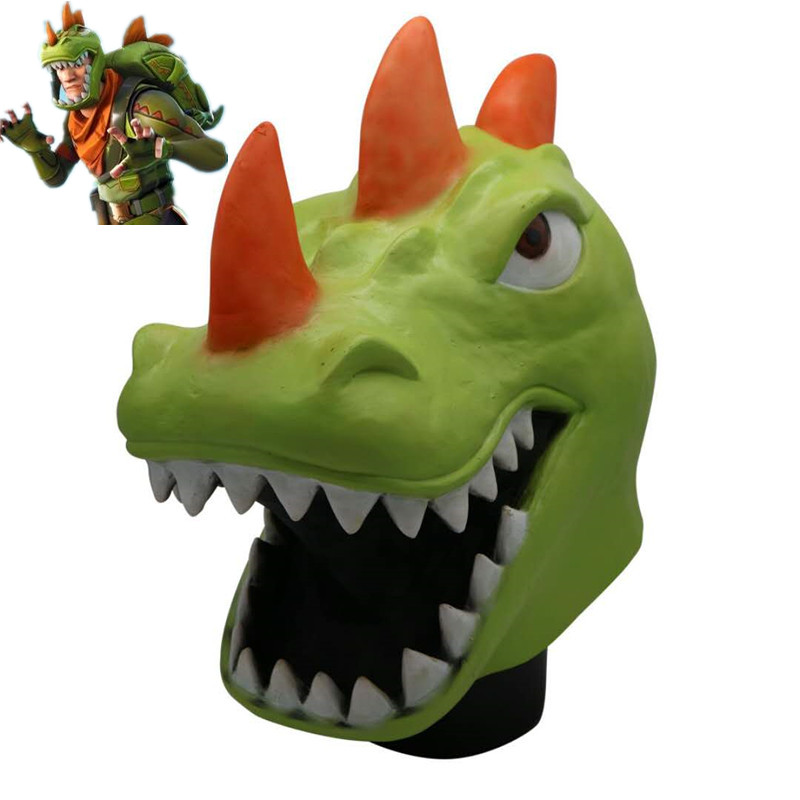 ZSQH Fortress night fortnited Battle Royale Rex Cosplay Green Dinosaur helmet Halloween terror latex Mask kids children boy girl