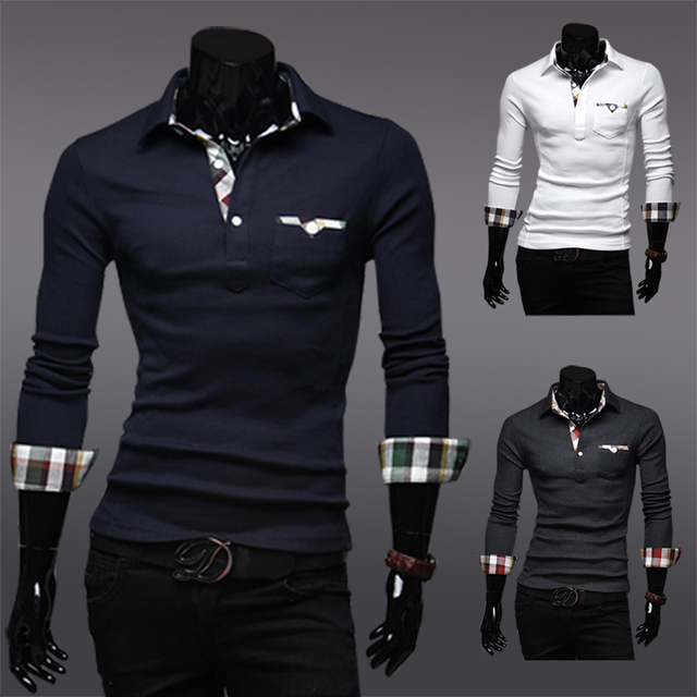 Korean men plaid cloth stitching long sleeve POLO shirt 1411A-A098-P48 fitness shirts male fashion casual boss red black