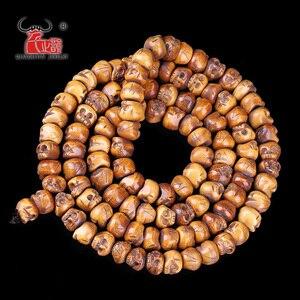 Image 4 - 30 adet el yapımı oyma Yak kemik boncuk, kafatası antik boncuk cadılar bayramı takı yapımı için, kahverengi, 11x13mm, delik: 2mm