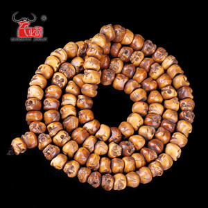 Image 4 - 30PCS Handmade Carved Yak Bone Beads, Skull Antique Beads for Halloween Jewelry Making, Brown,11x13mm, Hole: 2mm