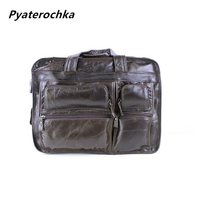 Pyaterochka Men Handbag Business Bag Cowhide Leather Briefcases  High Quality Vintage Shoulder Bag 2019 Luxury Famous BrandPyaterochka Men Handbag Business Bag Cowhide Leather Briefcases  High Quality Vintage Shoulder Bag 2019 Luxury Famous Brand