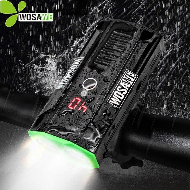 WOSAWE Super Brilhante Embutido Faróis de Bicicleta Luz Da Bicicleta Da Bateria Banco de Potência À Prova D' Água LEVOU USB Recarregável Ciclismo Lanterna