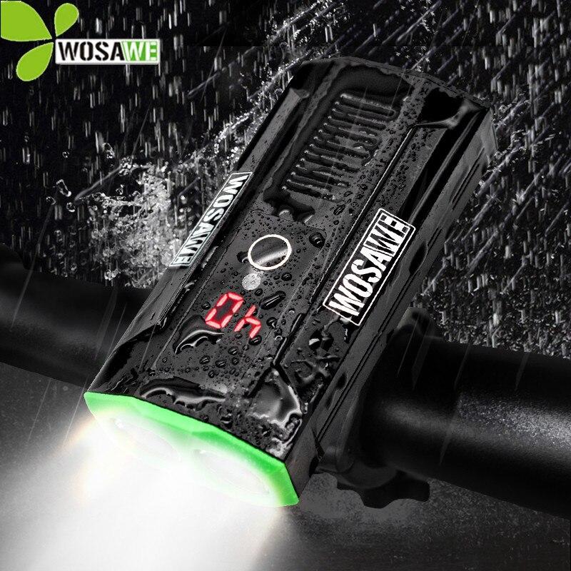 WOSAWE Super lumineux batterie intégrée vélo lumière vélo phares batterie externe LED étanche USB Rechargeable vélo lampe de poche