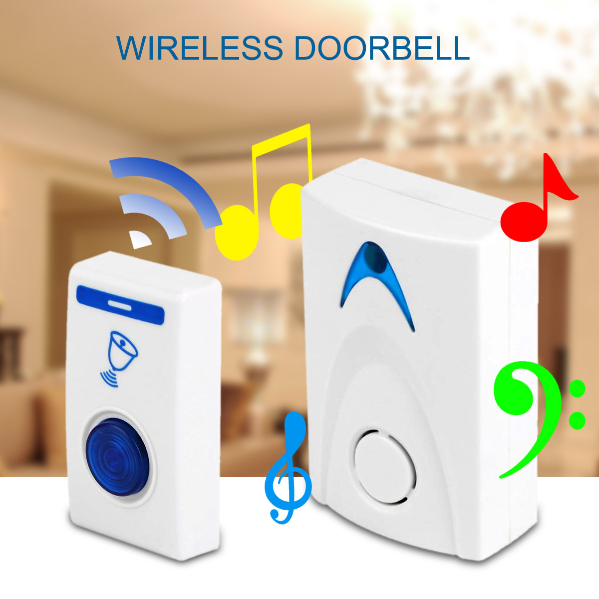 DSHA LED Wireless Chime Door Bell Doorbell & Wireles Remote control 32 Tune Songs (Color: White) wireless doorbell door bell remote control white 32 tunes songs new