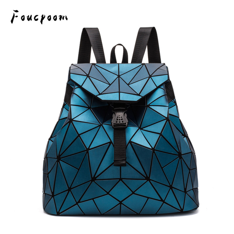 New Bags Women Backpack Fashion Drawstring Geometric Backpacks Folding Large Capacity Backpack School PU Multicolor Backpacks