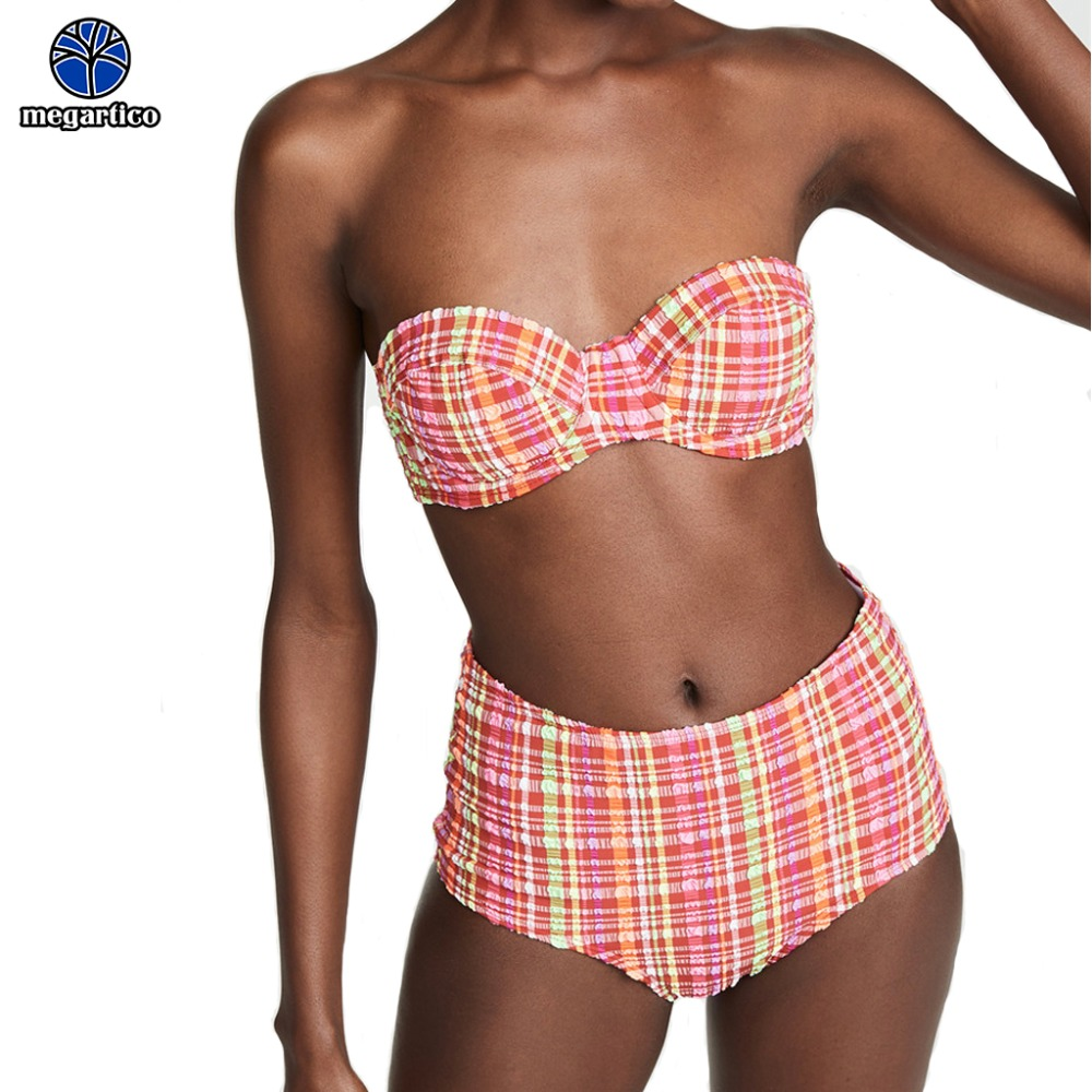 high waist bikini brazilian sexy micro swimsuit sexi 2019 Mini biquine pink plaid push up ladies bandeau bikinis 1
