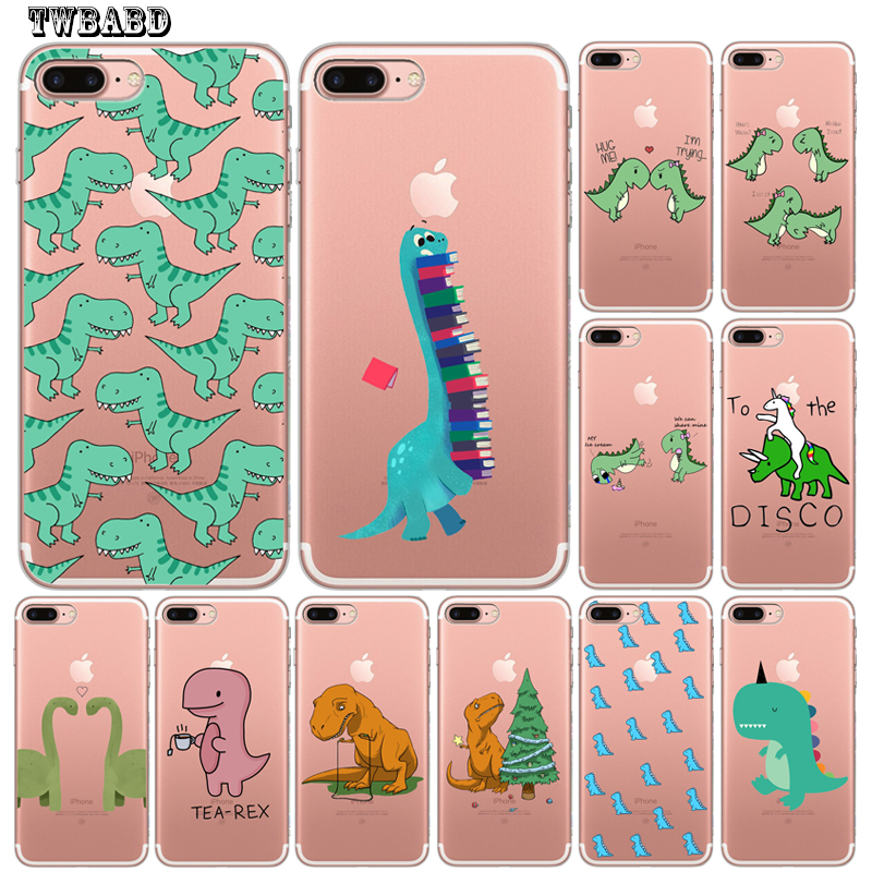 Funny <font><b>Dinosaur</b></font> Phone <font><b>Case</b></font> for Funda <font><b>iPhone</b></font> 8 <font><b>7</b></font> 6 6S Plus X XS MAX XR 10 Soft Transprent Silicone Cover Etui image