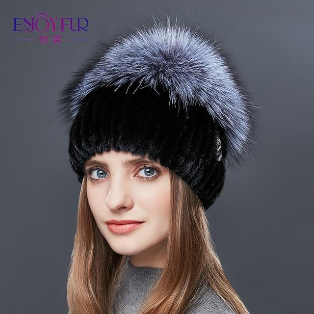 ENJOYFUR Fox sombrero de piel Natural de piel de visón sombreros de invierno  para las mujeres 0ba7c026511