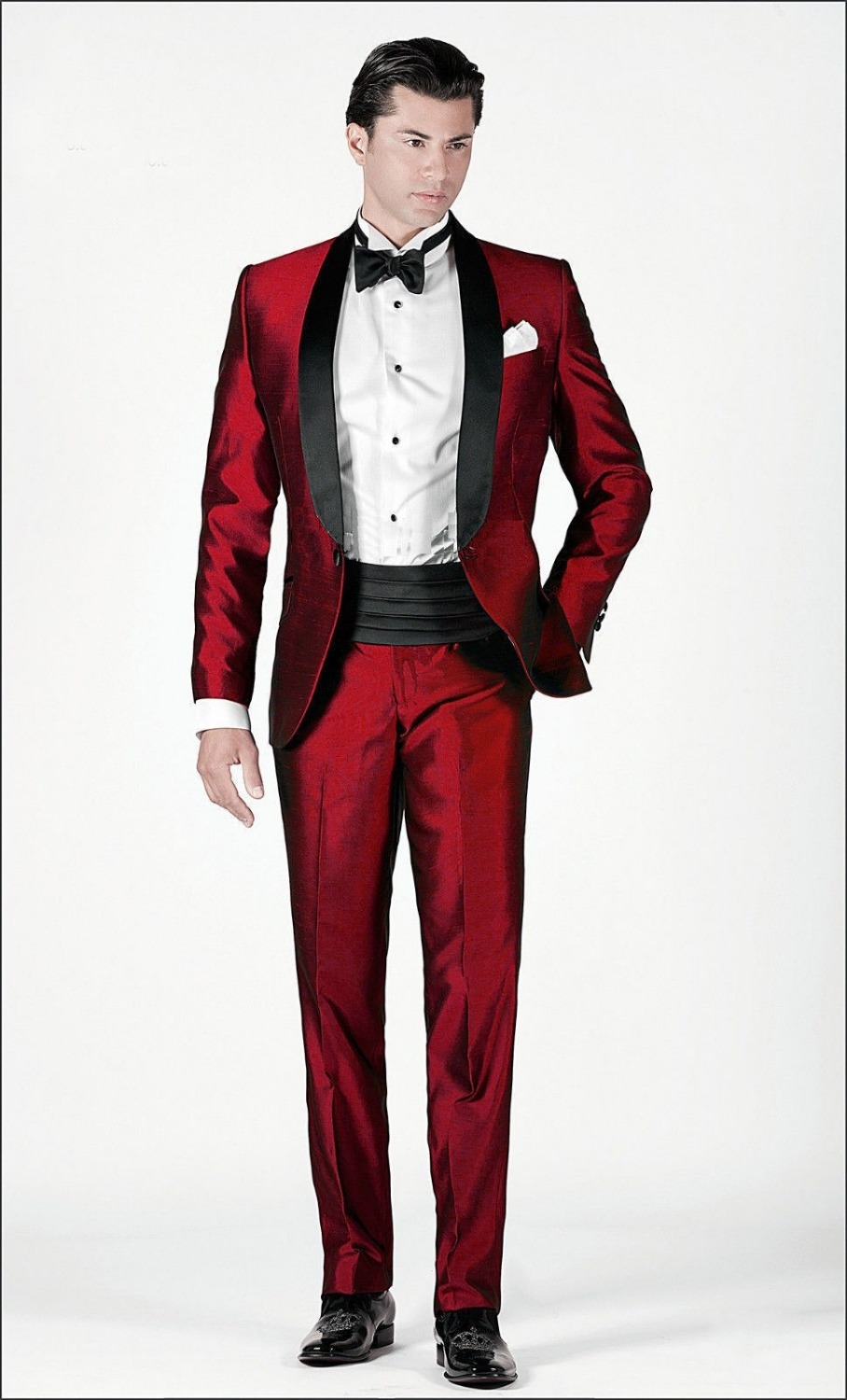High Quality One Button Dark Red Groom Tuxedos Groomsmen Men's ...