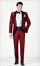 High Quality One Button Dark Red Groom Tuxedos Groomsmen Men's Wedding Prom Suits Custom Made (Jacket+Pants+Girdle+Tie) K:110
