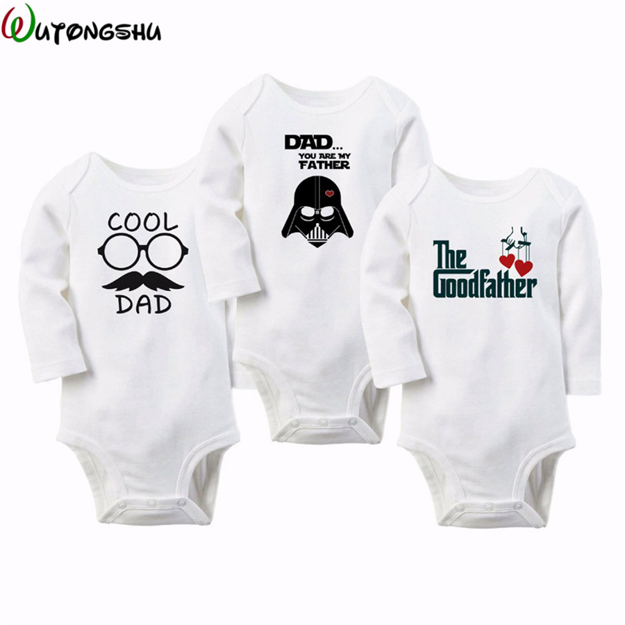 Cool Dad Letter Print Baby One-pieces New Born Girls& Girls Clothes Long Sleeve O-Neck 0-12M Baby Rompers baby rompers o neck 100