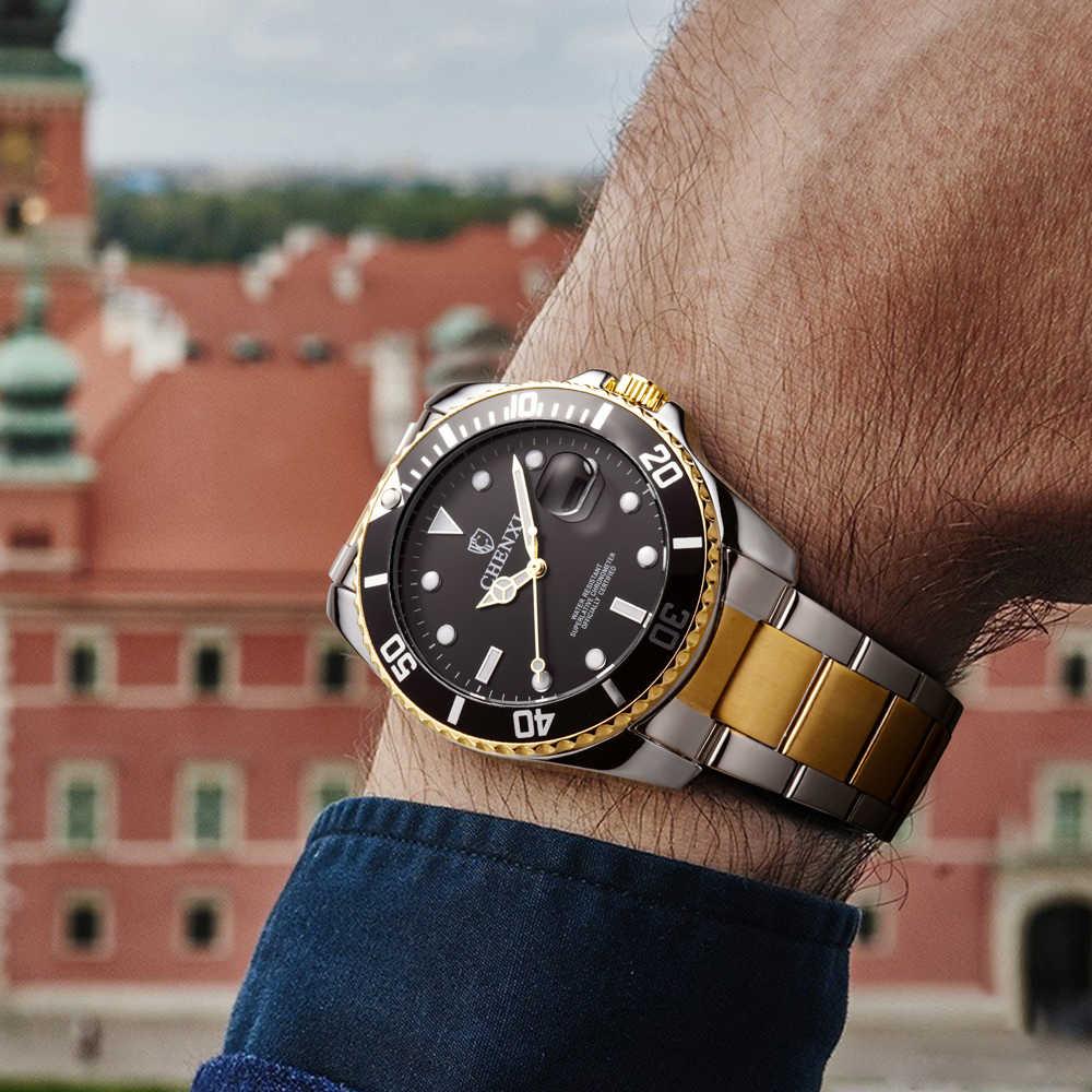 Relojes de marca de lujo CHENXI para hombre, relojes de cuarzo de fecha, relojes de pulsera de cuarzo analógica de acero inoxidable para hombre, Montre Homme