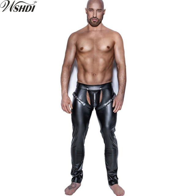 9206ec0baff Sexy Men Faux Leather Pants Shiny Black Open Crotch Skinny Trousers  Nightclub Stage Performance Singers Dancer Leather Pants