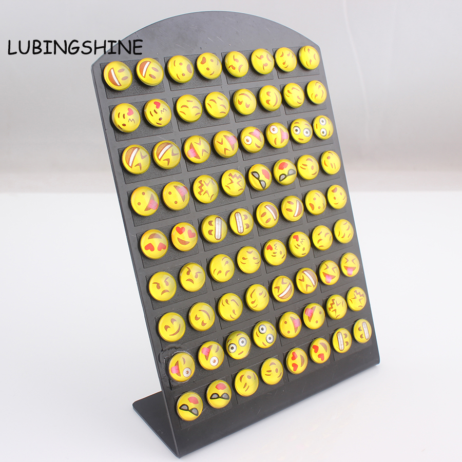 LUBINGSHINE 36pairs/lot 2017 Resin Jewelry Smile Faces Stud Earrings for Women lady girl earrings boucle doreille femme