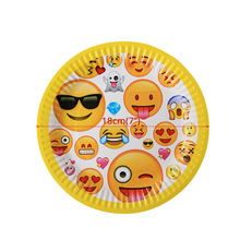 10pcs Emoji Disposable Tableware plate Paper tray Happy Birthday Party Decorations Supplies Easter Baby shower Wedding Activity 1set emoji disposable tableware banner sign flags happy birthday party decorations supplies easter baby shower activity goods