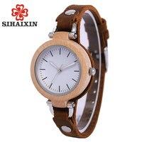 Sihaixin леди Повседневное Vogue Дизайн небольшой браслет Для женщин деревянный Повседневные часы лучший бренд класса люкс для девочек рук часы п...